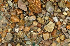 Texture of stones on the beach. Pebbles chaotically scattered on the beach in monochrome in winter Stock Image