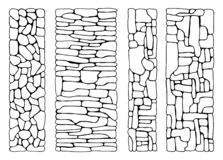 Texture of stones. wall from bricks set vector. paved flat stone. Surfaces. hand drawing insulated set stock illustration