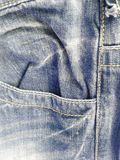 Texture and stripe denim jeans. And taken at close range and part of the pants pocket royalty free stock photography