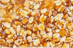 Texture sweet caramel nut dessert Royalty Free Stock Image