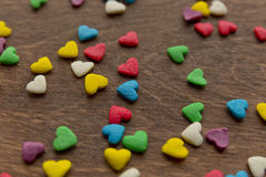 Texture of sweet colorful candy decorations in the form of heart Stock Photography