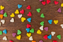 Texture of sweet colorful candy decorations in the form of heart Royalty Free Stock Photos