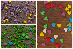 Texture of sweet colorful candy decorations in the form of heart Stock Image