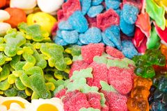 Texture of sweets .Close-up of some sweets. Coloured candies Stock Image