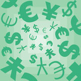Texture with symbols of Dollar, Euro, yen. Vector texture with symbols of dollar, Euro, yen on a green background Stock Image