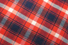 Texture of tablecloth, gingham pattern in red, white and navy blue, checked pattern royalty free stock photography