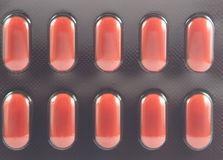 Texture of tablets in brown blister pack Royalty Free Stock Image