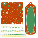 Texture, tag and trim collection with hearts Stock Image