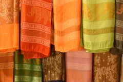 Texture of thai traditional scarf. It is a inheritance from old generation to new generation stock images