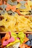 Texture from three different farfalle pasta Stock Photos