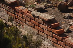Texture tiles. Old ruins overlooking tile and shingle wall Royalty Free Stock Photo