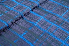 Texture, tissu, fond Tissu de laine Rayures bleu-foncé Bl Images stock