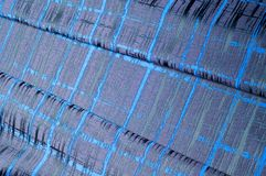 Texture, tissu, fond Tissu de laine Rayures bleu-foncé Bl Photos stock