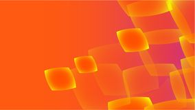 Texture from transparent orange abstract volumetric fashionable magic light air aerial carved circles, curved lines, squares on an. Orange gradient background stock illustration