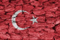 Texture of Turkey flag. Texture of Turkey Flag on a decorative tree bark stock images