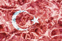 Texture of Turkey flag in the pool, water. stock illustration
