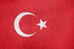Texture of Turkey flag. The texture of the Turkey flag on the wall of the plaster royalty free stock images
