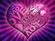 Texture typographique d'amour masquée par coeur Images stock
