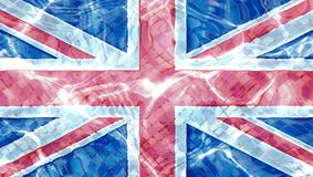Texture of United Kingdom flag in the pool, water. royalty free stock images