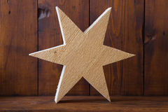 Texture of untreated wooden handmade star for christmas Stock Image
