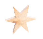 Texture of untreated wooden handmade star isolated. Royalty Free Stock Photo