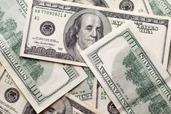 Texture US dollars. Background of one hundred dollar bills stock image