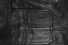 Background, the texture of leather clothing, a pocket of a black leather jacket. royalty free stock photo