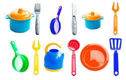 Texture - various plastic baby dishes Royalty Free Stock Images