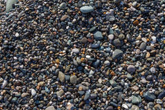 Texture of various size and shape color pebble stones Royalty Free Stock Photos