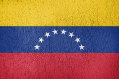The texture of Venezuela flag. Texture of Venezuela flag on a wall of plaster royalty free stock images