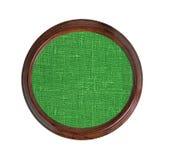 Texture verte de toile de jute dans le cadre en bois d'isolement sur le blanc Image stock