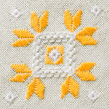Texture of the vintage homespun linen textile. Background with embroidery. Stock Images