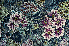 Texture of vintage print fabric striped flowers Royalty Free Stock Image