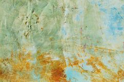 Texture of vintage rusty blue and gray iron wall background with many layers of paint. And rust Royalty Free Stock Image
