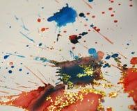Texture vive brouillée de scintillement de taches d'hiver, rouge, fond bleu orange, conception Photos stock
