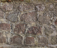 Texture of a wall with cobblestones and mortar Royalty Free Stock Photo