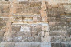 The texture of the Wall of Herod`s period on the Temple Mount in Jerusalem. Judaism royalty free stock photography