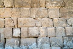 The texture of the Wall of Herod`s period on the Temple Mount in Jerusalem. Judaism royalty free stock photo