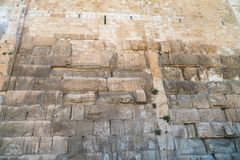 The texture of the Wall of Herod`s period on the Temple Mount in Jerusalem. Judaism stock images