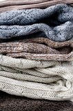 Texture of warm knitted sweaters Stock Photography