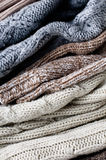 Texture of warm knitted sweaters Stock Photo