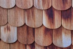 Red wooden scale shingle texture stock photos