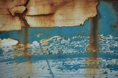The texture was metal corrosion and peeling paint. The texture was blue metal corrosion and peeling paint Royalty Free Stock Photography