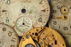 Vintage clock face. Old watch dials. Texture of watch movements. Old watch dials Royalty Free Stock Photography