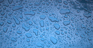 Texture - water drops on a blue body of the car Royalty Free Stock Photography