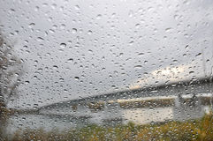 Texture water drops glass rain Stock Image