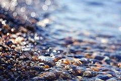 Texture water pebble beach Stock Photo