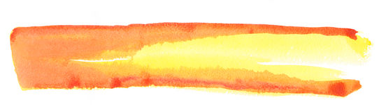 Texture watercolor smear in yellow-red tones  on white background Royalty Free Stock Photo