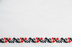 Texture of White Canvas with Slavic Embroidery. Royalty Free Stock Photography