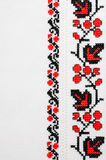 Texture of White Canvas with Slavic Embroidery. Royalty Free Stock Image